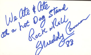 FREDDY CANNON - AUTOGRAPH QUOTATION SIGNED 1988