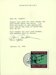 GARRY TRUDEAU - TYPED NOTE SIGNED 01/15/1991