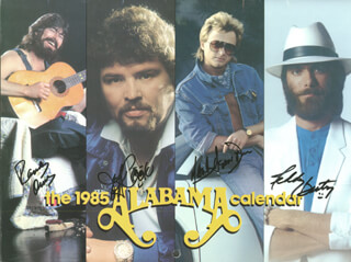 ALABAMA - CALENDAR SIGNED CO-SIGNED BY: ALABAMA (JEFF COOK), ALABAMA (TEDDY GENTRY), ALABAMA (MARK HERNDON), ALABAMA (RANDY OWEN)
