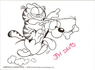 JIM DAVIS - CARTOON SIGNED