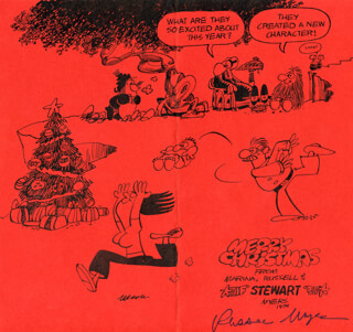 RUSSELL MYERS - CHRISTMAS / HOLIDAY CARD SIGNED CIRCA 1974