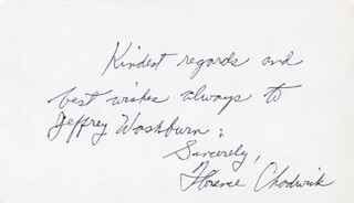 FLORENCE M. CHADWICK - AUTOGRAPH NOTE SIGNED