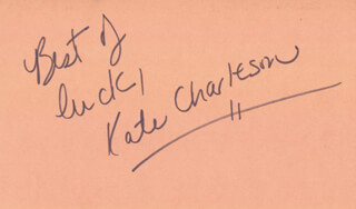 KATE CHARLESON - AUTOGRAPH SENTIMENT SIGNED CIRCA 1983