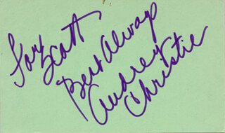 AUDREY CHRISTIE - AUTOGRAPH NOTE SIGNED