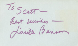 LUCILLE BENSON - AUTOGRAPH NOTE SIGNED