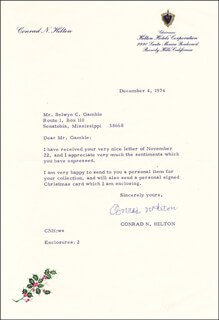 CONRAD N. HILTON - TYPED LETTER SIGNED 12/04/1974