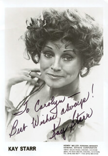 KAY STARR - AUTOGRAPHED SIGNED PHOTOGRAPH