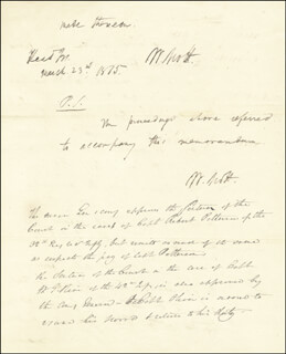 Autographs: LT. GENERAL WINFIELD SCOTT - AUTOGRAPH DOCUMENT TWICE SIGNED 03/23/1815