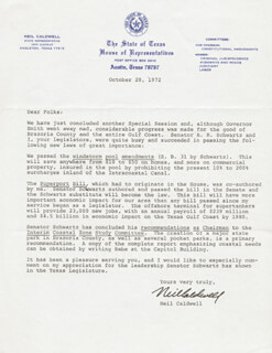 Autographs: NEIL CALDWELL - TYPED LETTER SIGNED 10/20/1972