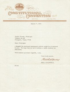 Autographs: NEIL CALDWELL - TYPED LETTER SIGNED 03/07/1974
