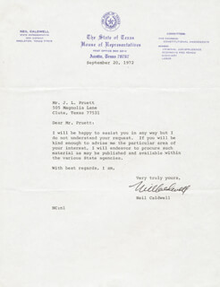 Autographs: NEIL CALDWELL - TYPED LETTER SIGNED 09/20/1972