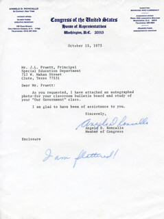 ANGELO D. RONCALLO - TYPED LETTER SIGNED 10/15/1973