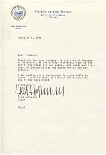 MAYOR FRED HOFHEINZ - TYPED LETTER SIGNED 02/04/1974