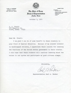 CARL A. PARKER - TYPED LETTER SIGNED 10/03/1972