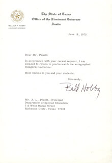 WILLIAM P. BILL HOBBY, JR. - TYPED LETTER SIGNED 06/16/1975