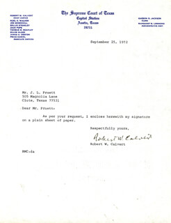 Autographs: ROBERT W. CALVERT - TYPED NOTE SIGNED 09/25/1972