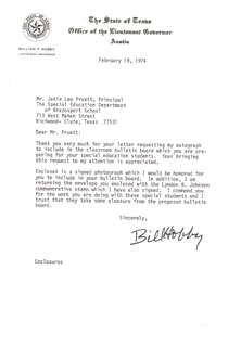 WILLIAM P. BILL HOBBY, JR. - TYPED LETTER SIGNED 02/19/1974