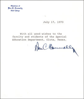 Autographs: BEN C. CONNALLY - TYPED NOTE SIGNED 07/17/1973