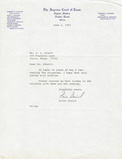 PRICE DANIEL - TYPED LETTER SIGNED 06/05/1972