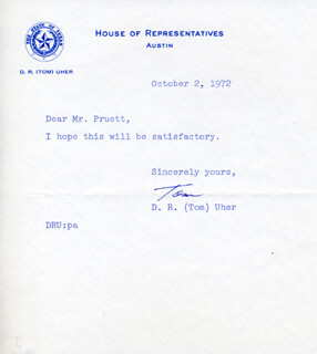 D.R. TOM UHER - TYPED NOTE SIGNED 10/02/1972