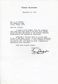 TERRY SANFORD - TYPED LETTER SIGNED 02/23/1973