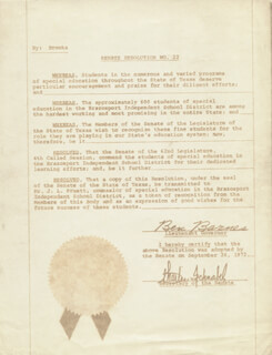 Autographs: BEN BARNES - DOCUMENT UNSIGNED 09/26/1972 WITH CHARLES SCHNABEL