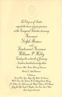GOVERNOR DOLPH BRISCOE - INAUGURAL INVITATION UNSIGNED 1973 WITH WILLIAM P. BILL HOBBY, JR.