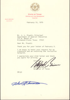 GOVERNOR DOLPH BRISCOE - TYPED LETTER SIGNED 02/12/1975