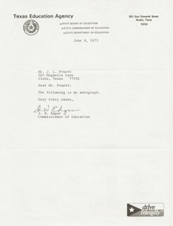 JAMES W. EDGAR - TYPED NOTE SIGNED 06/08/1972