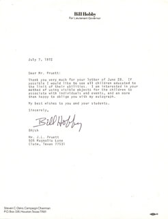 WILLIAM P. BILL HOBBY, JR. - TYPED LETTER SIGNED 07/07/1972