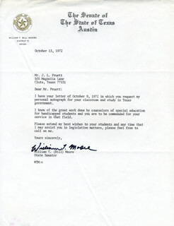 WILLIAM T. BILL MOORE - TYPED LETTER SIGNED 10/13/1972