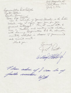 Autographs: WILLIAM J. BLYTHE - AUTOGRAPH NOTE DOUBLE SIGNED CIRCA 1972