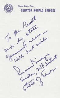 RONALD BRIDGES - AUTOGRAPH NOTE SIGNED