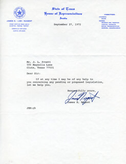 JAMES E. NUGENT - TYPED NOTE SIGNED 09/27/1972