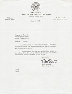 Autographs: BOB BULLOCK - TYPED LETTER SIGNED 07/05/1972