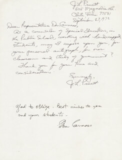 Autographs: DON CAVNESS - AUTOGRAPH NOTE SIGNED CIRCA 1972