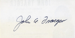 JOHN A. TRAEGER - PRINTED CARD SIGNED IN INK