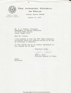 JOHN HILL - TYPED LETTER SIGNED 08/11/1975