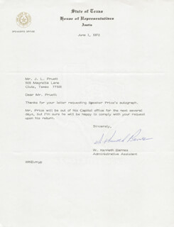 Autographs: W. KENNETH BARNES - TYPED NOTE SIGNED 06/01/1972