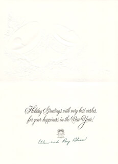 Autographs: RAY C. BLISS - CHRISTMAS / HOLIDAY CARD SIGNED CO-SIGNED BY: ELLEN BLISS