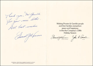 Autographs: EDWARD G. HARNESS - INSCRIBED CHRISTMAS / HOLIDAY CARD SIGNED