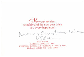 Autographs: WILLIAM DEVRIES - INSCRIBED CHRISTMAS / HOLIDAY CARD SIGNED