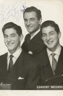 THE CARSONY BROTHERS - AUTOGRAPHED INSCRIBED PHOTOGRAPH CO-SIGNED BY: THE CARSONY BROTHERS (JOE CARSONY), THE CARSONY BROTHERS (BERT CARSONY)