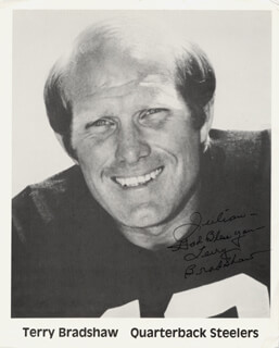 TERRY BRADSHAW - AUTOGRAPHED INSCRIBED PHOTOGRAPH