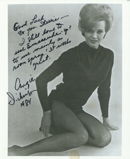 ANGIE DICKINSON - AUTOGRAPHED INSCRIBED PHOTOGRAPH 1984