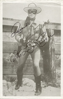 CLAYTON THE LONE RANGER MOORE - PHOTOGRAPH SIGNED IN CHARACTER