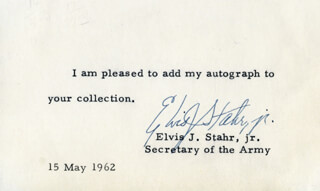 Autographs: ELVIS J. STAHR JR. - TYPED NOTE SIGNED 05/15/1962