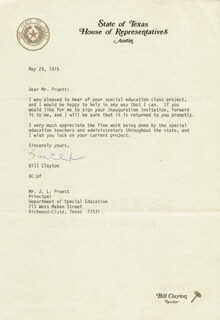 BILL CLAYTON - TYPED LETTER SIGNED 05/29/1975