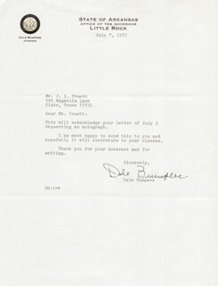 GOVERNOR DALE BUMPERS - TYPED LETTER SIGNED 07/07/1972
