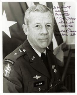Autographs: LT. GENERAL HAROLD R. AARON - INSCRIBED PHOTOGRAPH SIGNED